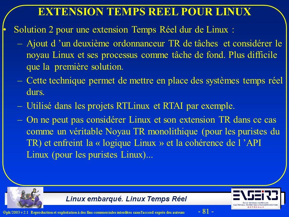 Linux embarqué. Linux Temps Réel pk/2003 v 2.1 Reproduction et exploitation à des fins commerciales interdites sans l'accord exprès des auteurs - 81 -