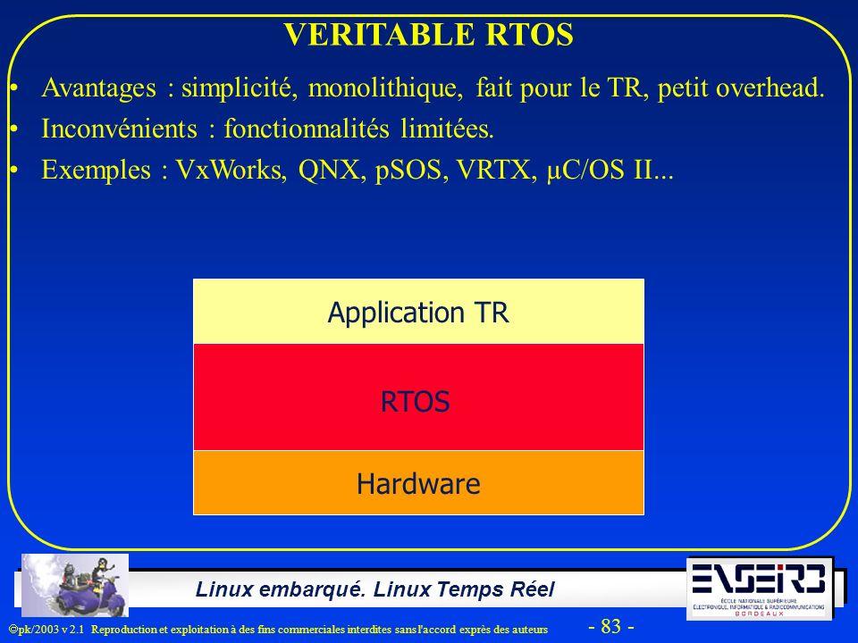 Linux embarqué. Linux Temps Réel pk/2003 v 2.1 Reproduction et exploitation à des fins commerciales interdites sans l'accord exprès des auteurs - 83 -