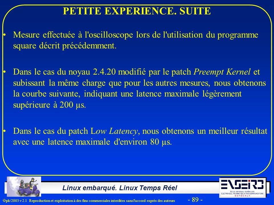 Linux embarqué. Linux Temps Réel pk/2003 v 2.1 Reproduction et exploitation à des fins commerciales interdites sans l'accord exprès des auteurs - 89 -