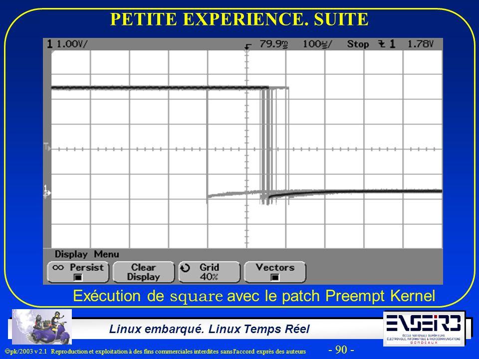 Linux embarqué. Linux Temps Réel pk/2003 v 2.1 Reproduction et exploitation à des fins commerciales interdites sans l'accord exprès des auteurs - 90 -