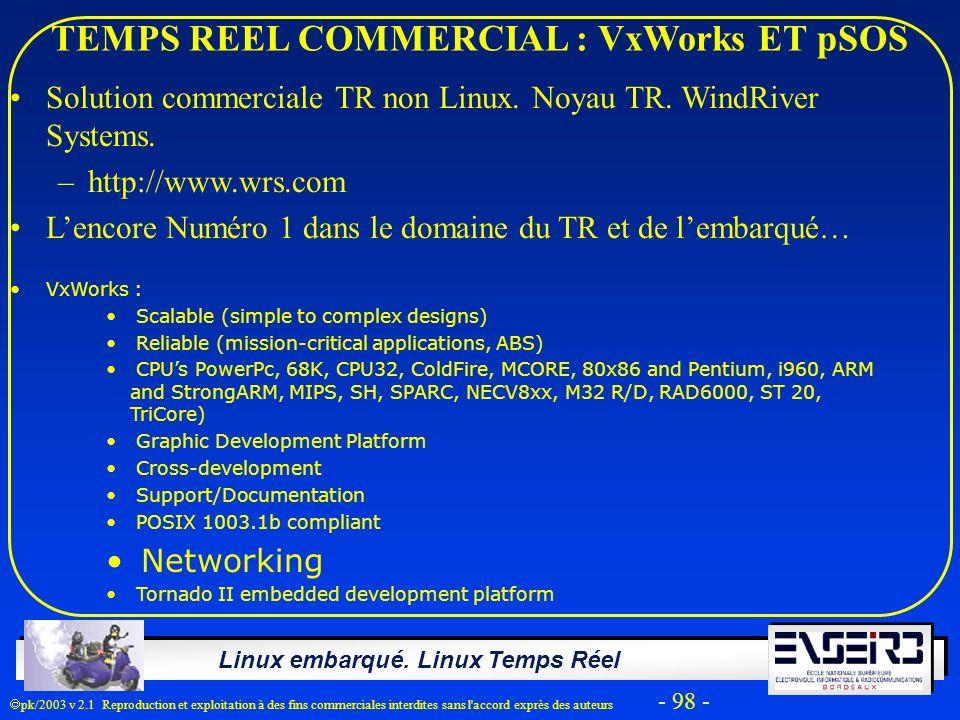 Linux embarqué. Linux Temps Réel pk/2003 v 2.1 Reproduction et exploitation à des fins commerciales interdites sans l'accord exprès des auteurs - 98 -
