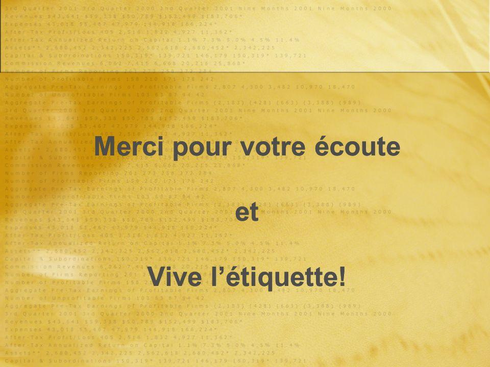 Merci pour votre écoute et Vive létiquette!