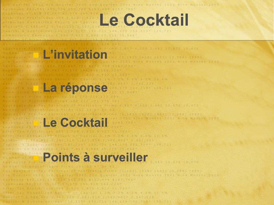 Le Cocktail Linvitation La réponse Le Cocktail Points à surveiller Linvitation La réponse Le Cocktail Points à surveiller