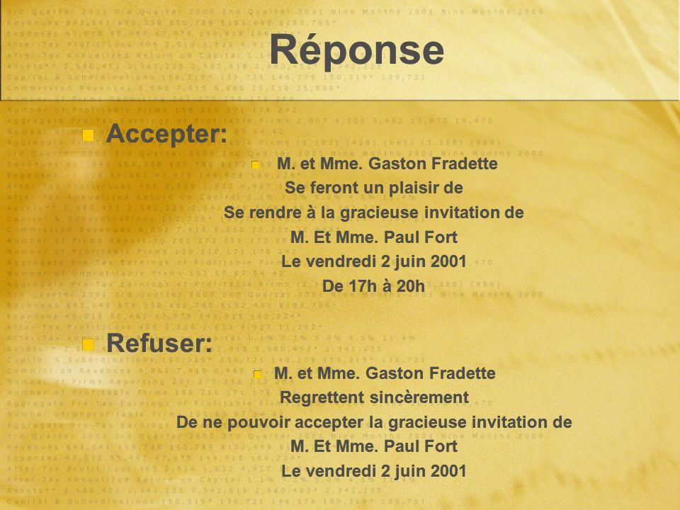 Réponse Accepter: M. et Mme. Gaston Fradette Se feront un plaisir de Se rendre à la gracieuse invitation de M. Et Mme. Paul Fort Le vendredi 2 juin 20