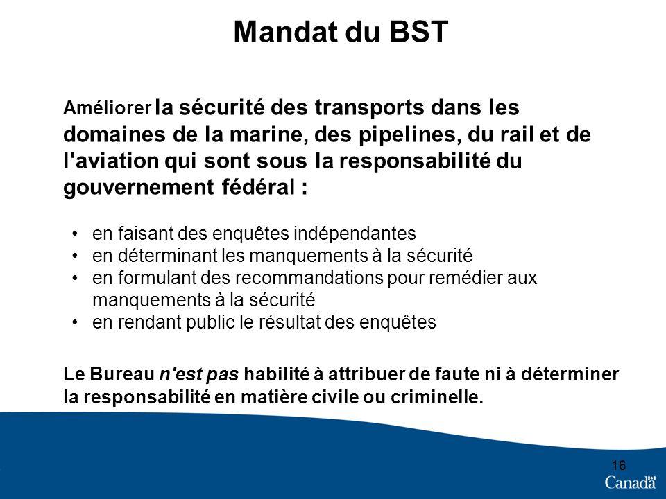 16 Mandat du BST Améliorer la sécurité des transports dans les domaines de la marine, des pipelines, du rail et de l'aviation qui sont sous la respons