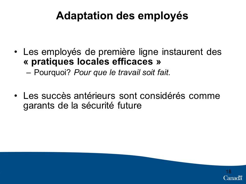 Adaptation des employés Les employés de première ligne instaurent des « pratiques locales efficaces » –Pourquoi? Pour que le travail soit fait. Les su