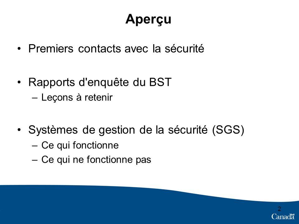 Aperçu Premiers contacts avec la sécurité Rapports d'enquête du BST –Leçons à retenir Systèmes de gestion de la sécurité (SGS) –Ce qui fonctionne –Ce