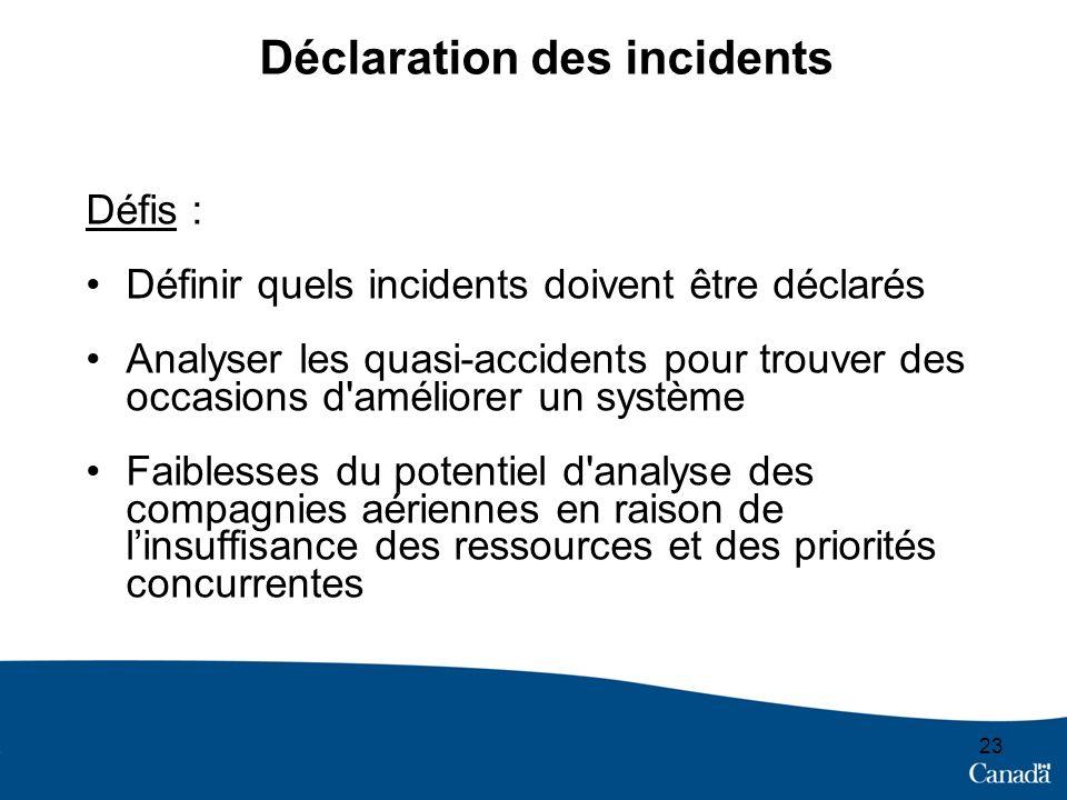 23 Déclaration des incidents Défis : Définir quels incidents doivent être déclarés Analyser les quasi-accidents pour trouver des occasions d'améliorer