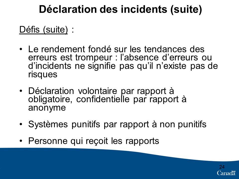 24 Déclaration des incidents (suite) Défis (suite) : Le rendement fondé sur les tendances des erreurs est trompeur : labsence derreurs ou dincidents n