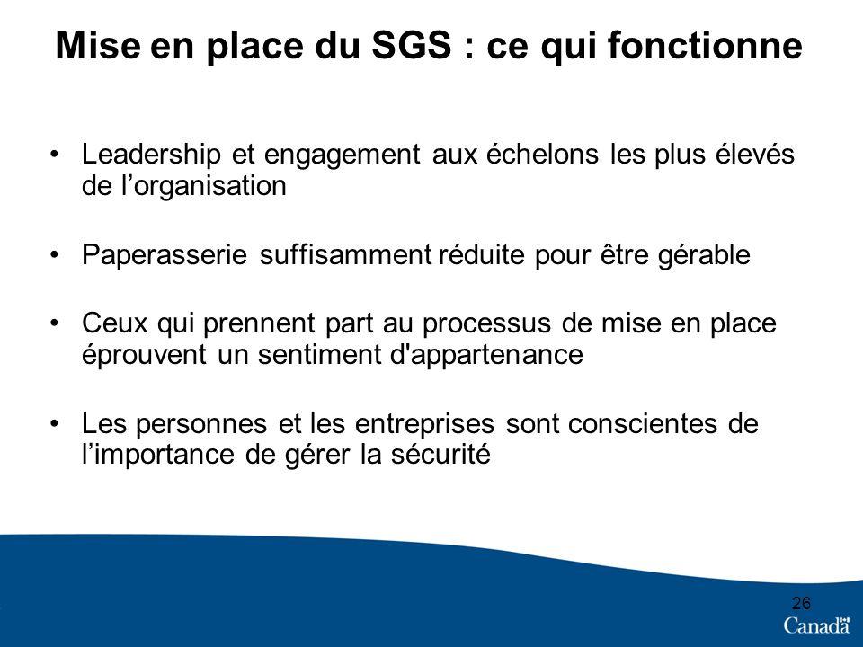 Mise en place du SGS : ce qui fonctionne Leadership et engagement aux échelons les plus élevés de lorganisation Paperasserie suffisamment réduite pour