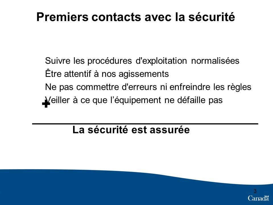 3 Premiers contacts avec la sécurité Suivre les procédures d'exploitation normalisées Être attentif à nos agissements Ne pas commettre d'erreurs ni en