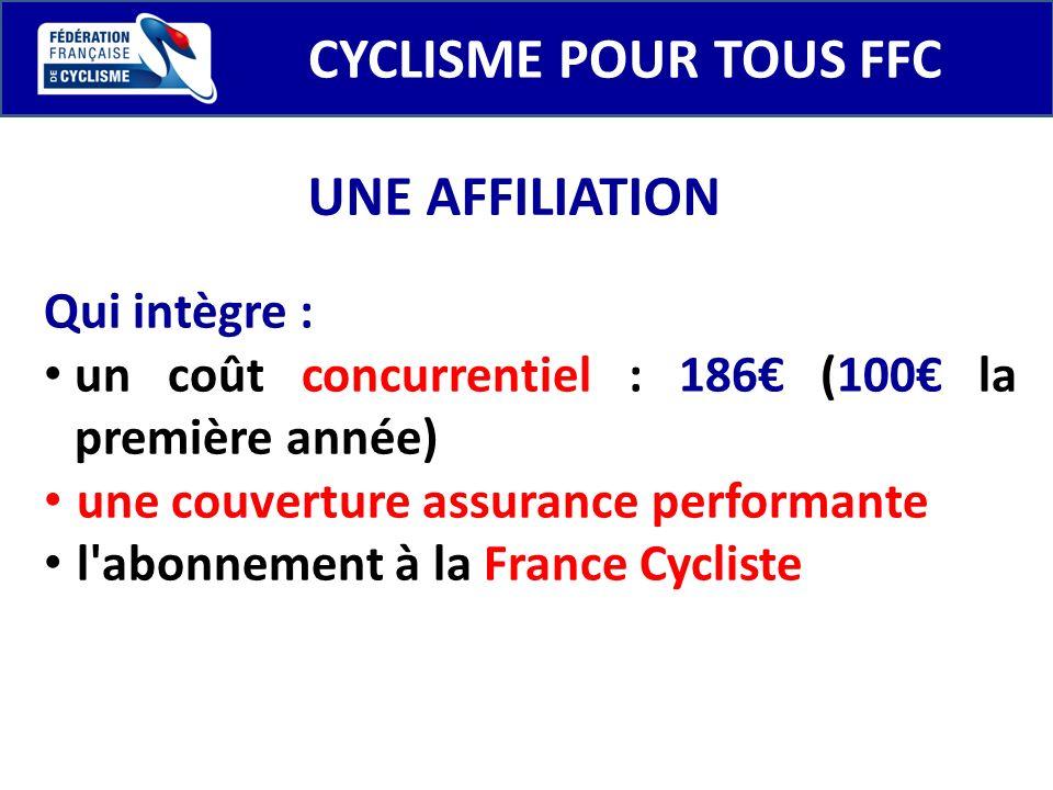 CYCLISME POUR TOUS FFC Qui intègre : un coût concurrentiel : 186 (100 la première année) une couverture assurance performante l'abonnement à la France