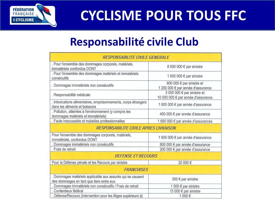 CYCLISME POUR TOUS FFC Responsabilité civile Club