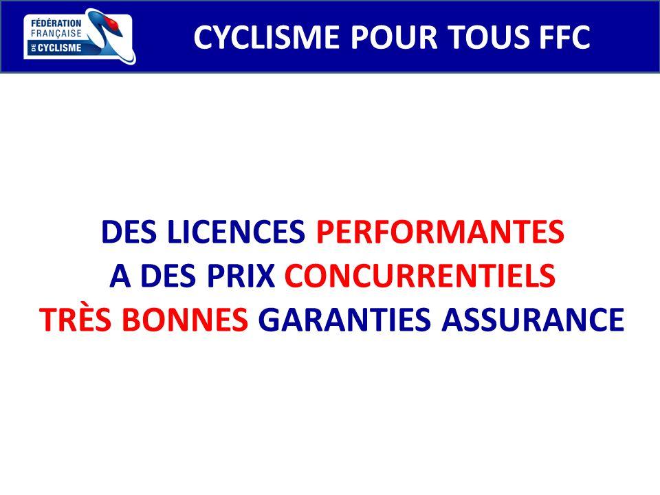 CYCLISME POUR TOUS FFC DES LICENCES PERFORMANTES A DES PRIX CONCURRENTIELS TRÈS BONNES GARANTIES ASSURANCE
