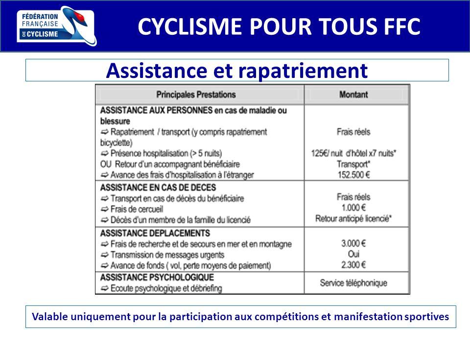 CYCLISME POUR TOUS FFC Assistance et rapatriement Valable uniquement pour la participation aux compétitions et manifestation sportives