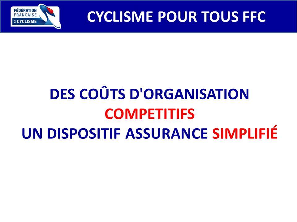 CYCLISME POUR TOUS FFC DES COÛTS D'ORGANISATION COMPETITIFS UN DISPOSITIF ASSURANCE SIMPLIFIÉ