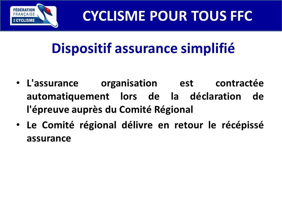 CYCLISME POUR TOUS FFC L'assurance organisation est contractée automatiquement lors de la déclaration de l'épreuve auprès du Comité Régional Le Comité