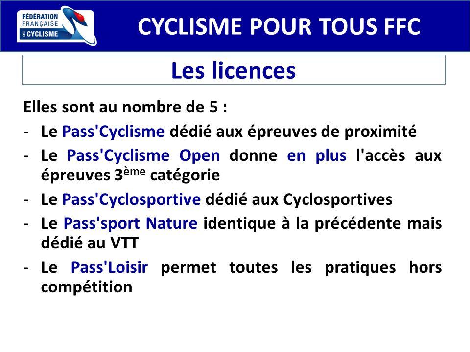 CYCLISME POUR TOUS FFC Les licences Elles sont au nombre de 5 : -Le Pass'Cyclisme dédié aux épreuves de proximité -Le Pass'Cyclisme Open donne en plus