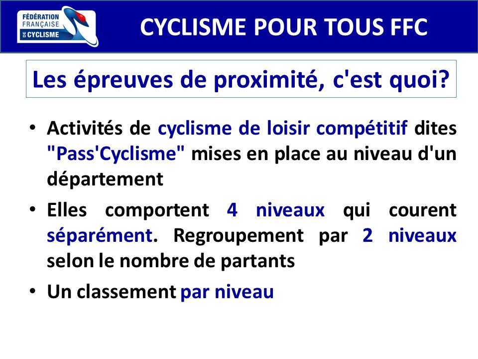 CYCLISME POUR TOUS FFC Les épreuves de proximité, c'est quoi? Activités de cyclisme de loisir compétitif dites