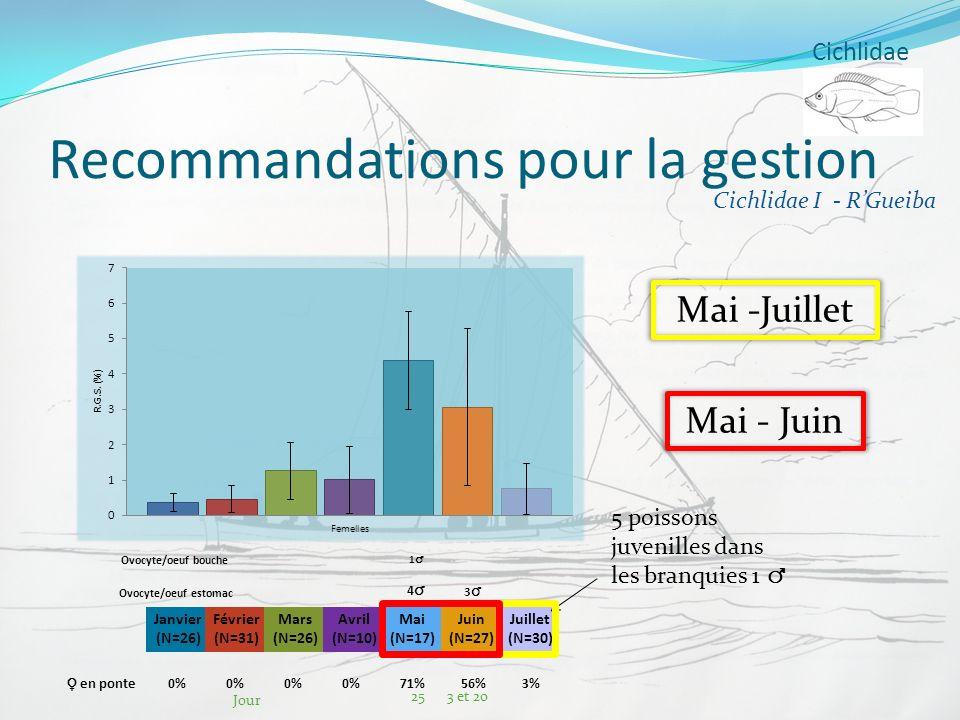 Cichlidae Recommandations pour la gestion Janvier (N=26) Février (N=31) Mars (N=26) Avril (N=10) Mai (N=17) Juin (N=27) Juillet (N=30) Ovocyte/oeuf bo