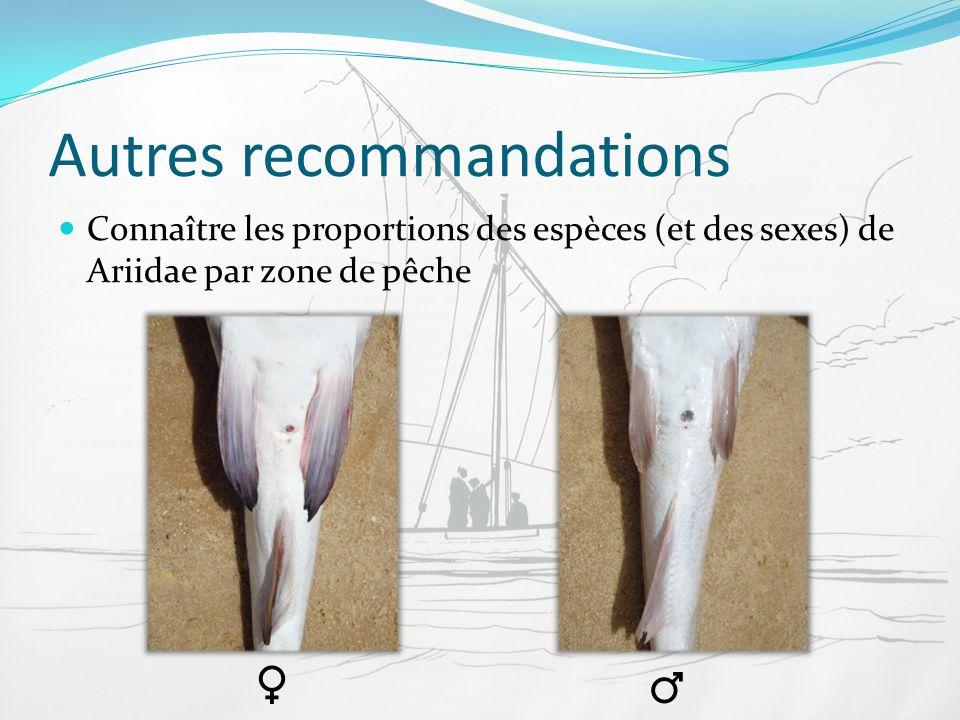 Autres recommandations Connaître les proportions des espèces (et des sexes) de Ariidae par zone de pêche