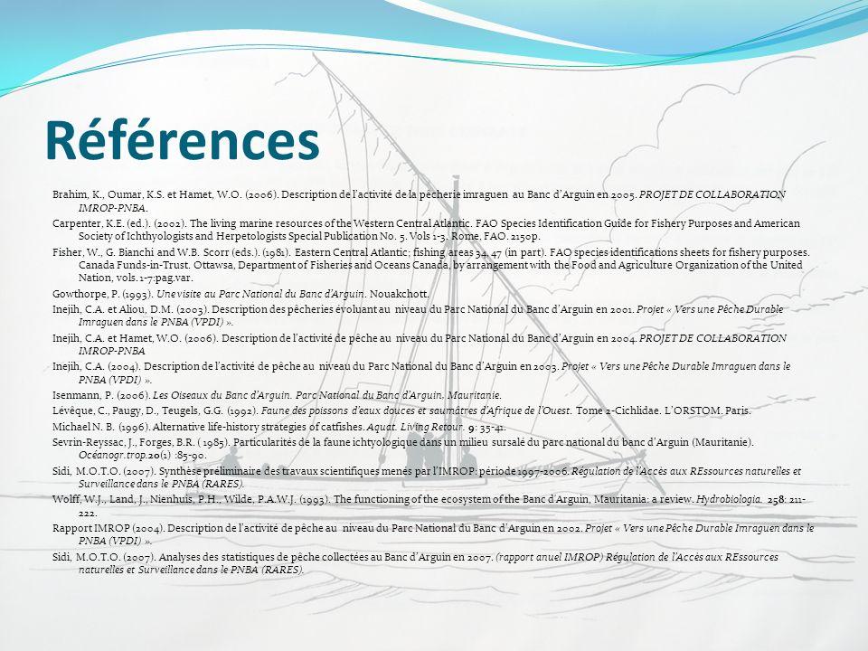 Références Brahim, K., Oumar, K.S. et Hamet, W.O. (2006). Description de lactivité de la pêcherie imraguen au Banc dArguin en 2005. PROJET DE COLLABOR