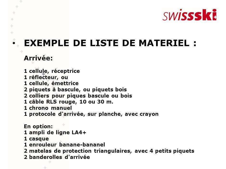 EXEMPLE DE LISTE DE MATERIEL : Arrivée: 1 cellule, réceptrice 1 réflecteur, ou 1 cellule, émettrice 2 piquets à bascule, ou piquets bois 2 colliers po