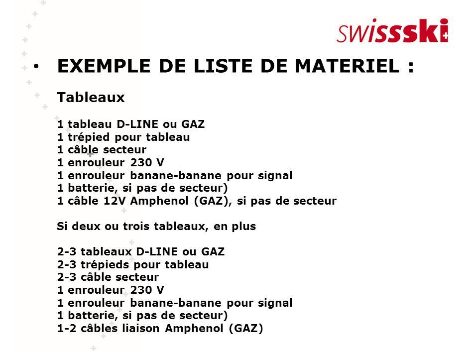 EXEMPLE DE LISTE DE MATERIEL : Tableaux 1 tableau D-LINE ou GAZ 1 trépied pour tableau 1 câble secteur 1 enrouleur 230 V 1 enrouleur banane-banane pou