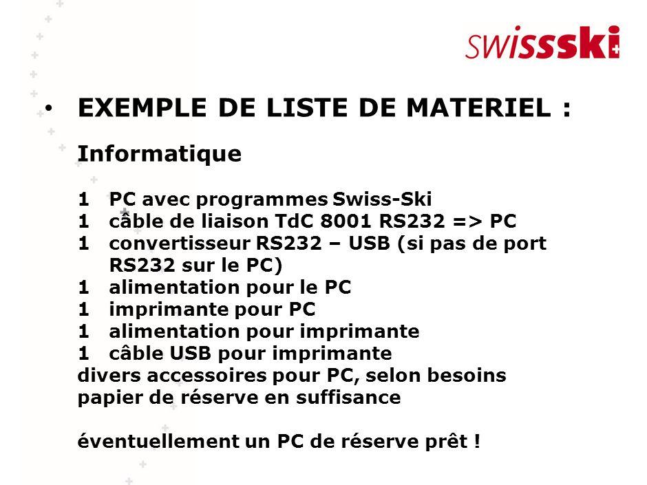 EXEMPLE DE LISTE DE MATERIEL : Informatique 1 PC avec programmes Swiss-Ski 1 câble de liaison TdC 8001 RS232 => PC 1 convertisseur RS232 – USB (si pas