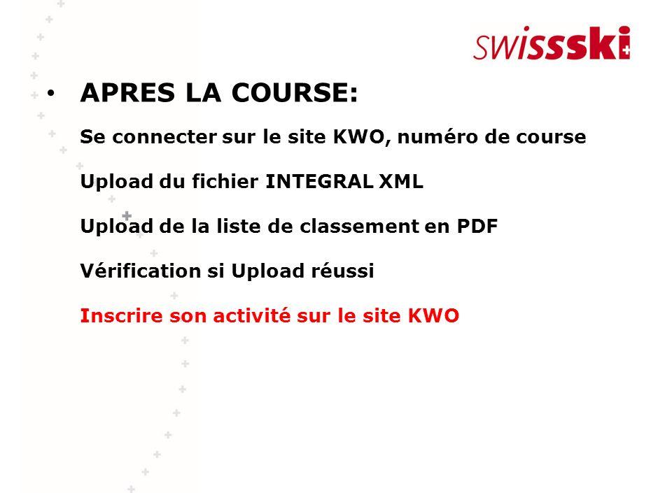 APRES LA COURSE: Se connecter sur le site KWO, numéro de course Upload du fichier INTEGRAL XML Upload de la liste de classement en PDF Vérification si