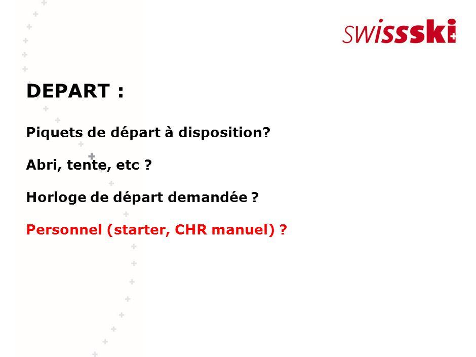 DEPART : Piquets de départ à disposition? Abri, tente, etc ? Horloge de départ demandée ? Personnel (starter, CHR manuel) ?