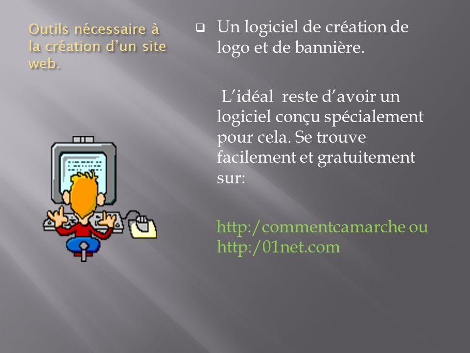 Outils nécessaire à la création dun site web. Un logiciel de création de logo et de bannière.