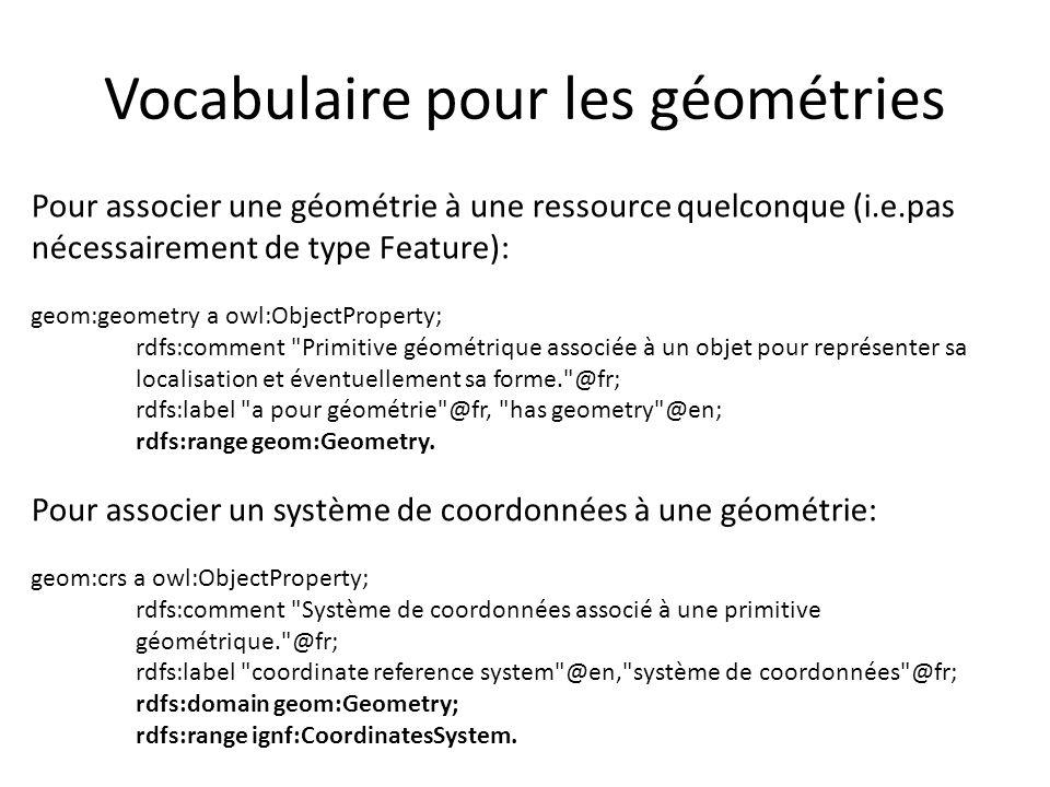 Vocabulaire pour les géométries Pour associer une géométrie à une ressource quelconque (i.e.pas nécessairement de type Feature): geom:geometry a owl:O
