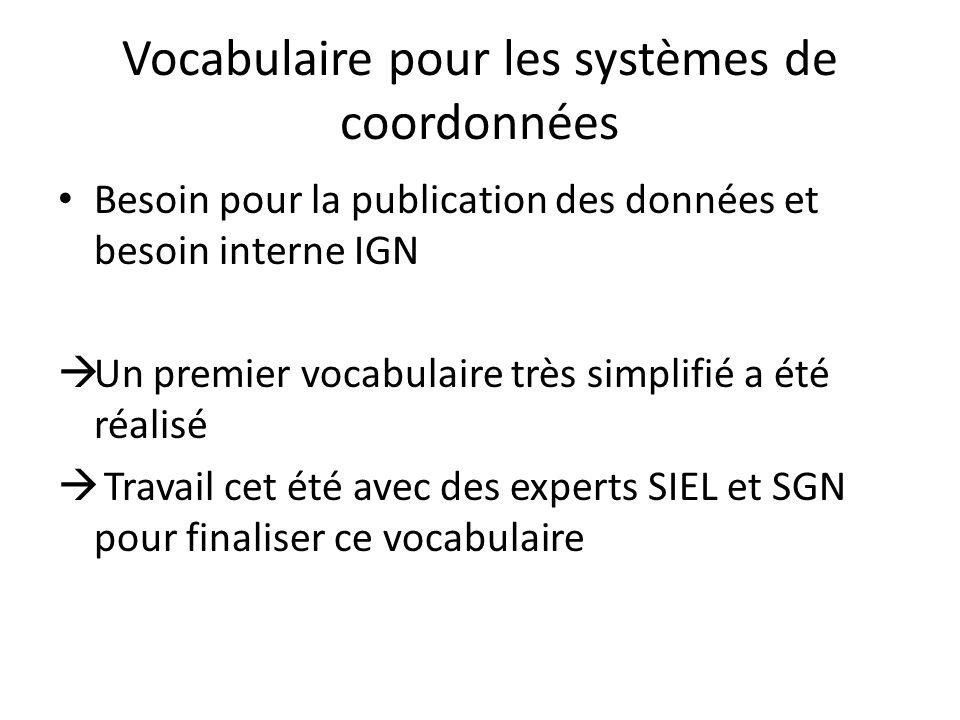 Vocabulaire pour les systèmes de coordonnées Besoin pour la publication des données et besoin interne IGN Un premier vocabulaire très simplifié a été