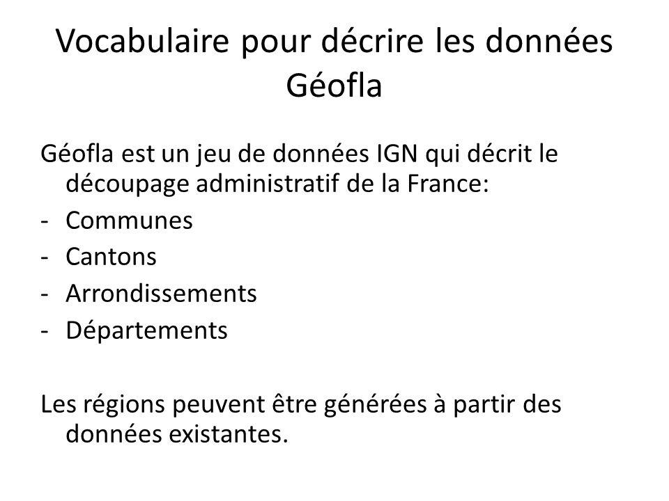 Vocabulaire pour décrire les données Géofla Géofla est un jeu de données IGN qui décrit le découpage administratif de la France: -Communes -Cantons -A