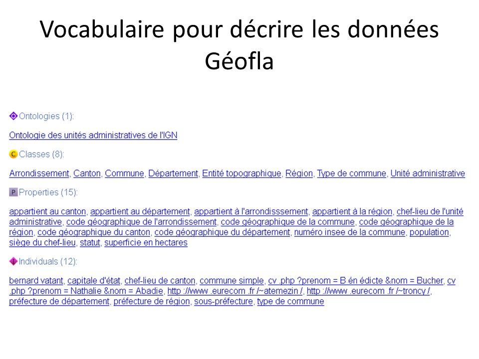 Vocabulaire pour décrire les données Géofla