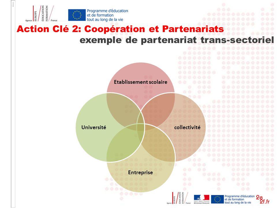 Action Clé 2: Coopération et Partenariats exemple de partenariat trans-sectoriel Etablissement scolaire collectivité Entreprise Université