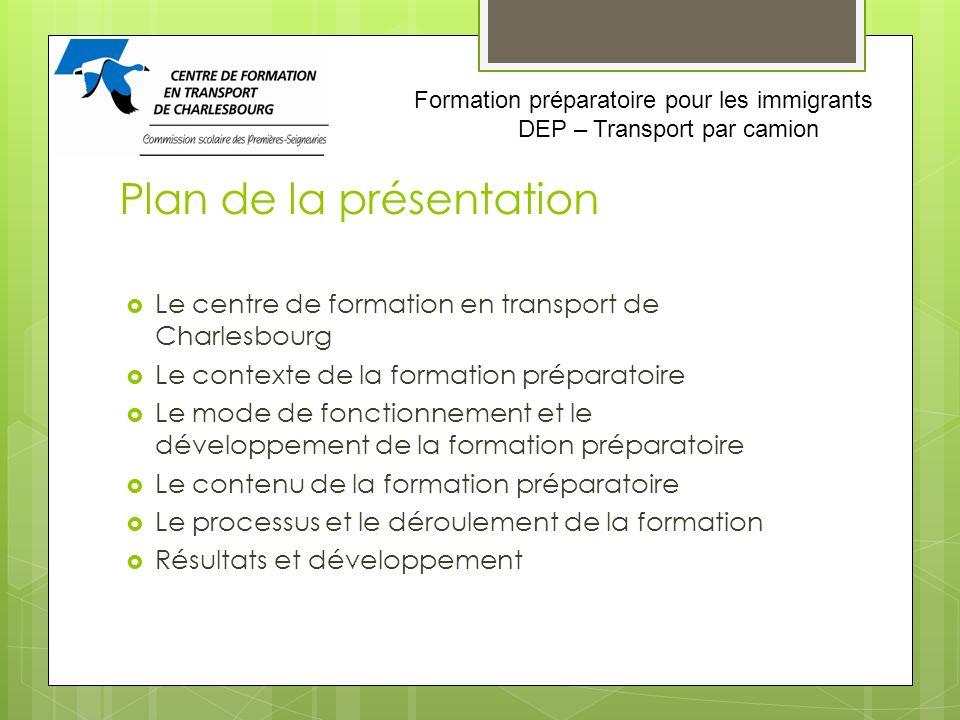 Plan de la présentation Le centre de formation en transport de Charlesbourg Le contexte de la formation préparatoire Le mode de fonctionnement et le d