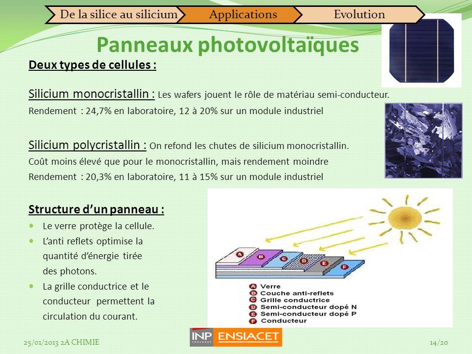 Panneaux photovoltaïques Deux types de cellules : Silicium monocristallin : Les wafers jouent le rôle de matériau semi-conducteur. Rendement : 24,7% e