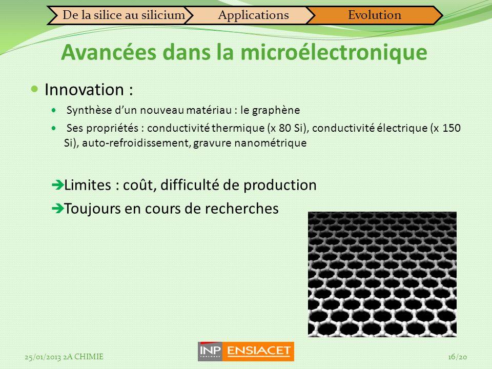 Innovation : Synthèse dun nouveau matériau : le graphène Ses propriétés : conductivité thermique (x 80 Si), conductivité électrique (x 150 Si), auto-refroidissement, gravure nanométrique Limites : coût, difficulté de production Toujours en cours de recherches De la silice au siliciumApplicationsEvolution Avancées dans la microélectronique 25/01/2013 2A CHIMIE16/20