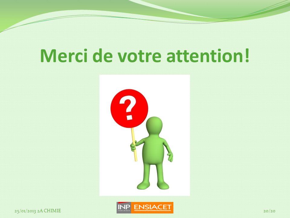 Merci de votre attention! 25/01/2013 2A CHIMIE20/20
