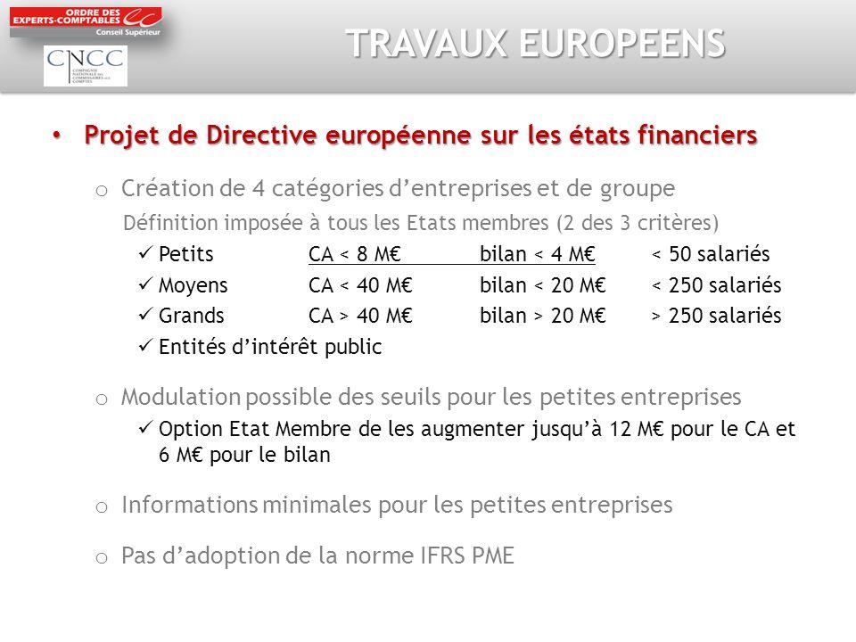TRAVAUX EUROPEENS Projet de Directive européenne sur les états financiers Projet de Directive européenne sur les états financiers o Création de 4 caté