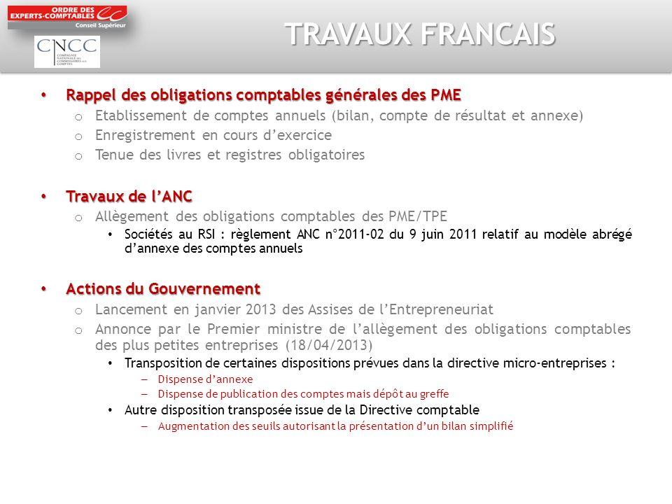 TRAVAUX FRANCAIS Rappel des obligations comptables générales des PME Rappel des obligations comptables générales des PME o Etablissement de comptes an
