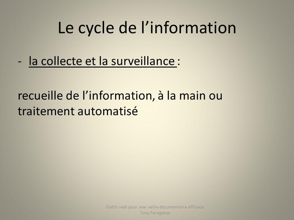Le cycle de linformation -la collecte et la surveillance : recueille de linformation, à la main ou traitement automatisé Outils web pour une veille do