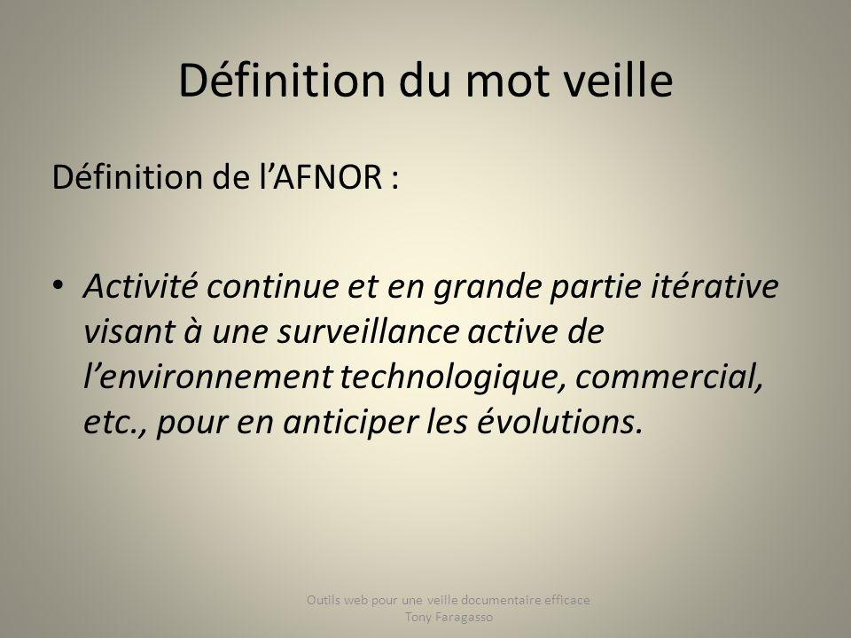 Définition du mot veille Définition de lAFNOR : Activité continue et en grande partie itérative visant à une surveillance active de lenvironnement tec
