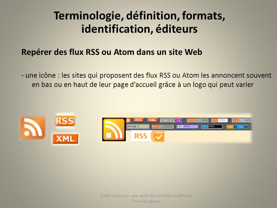 Repérer des flux RSS ou Atom dans un site Web - une icône : les sites qui proposent des flux RSS ou Atom les annoncent souvent en bas ou en haut de le
