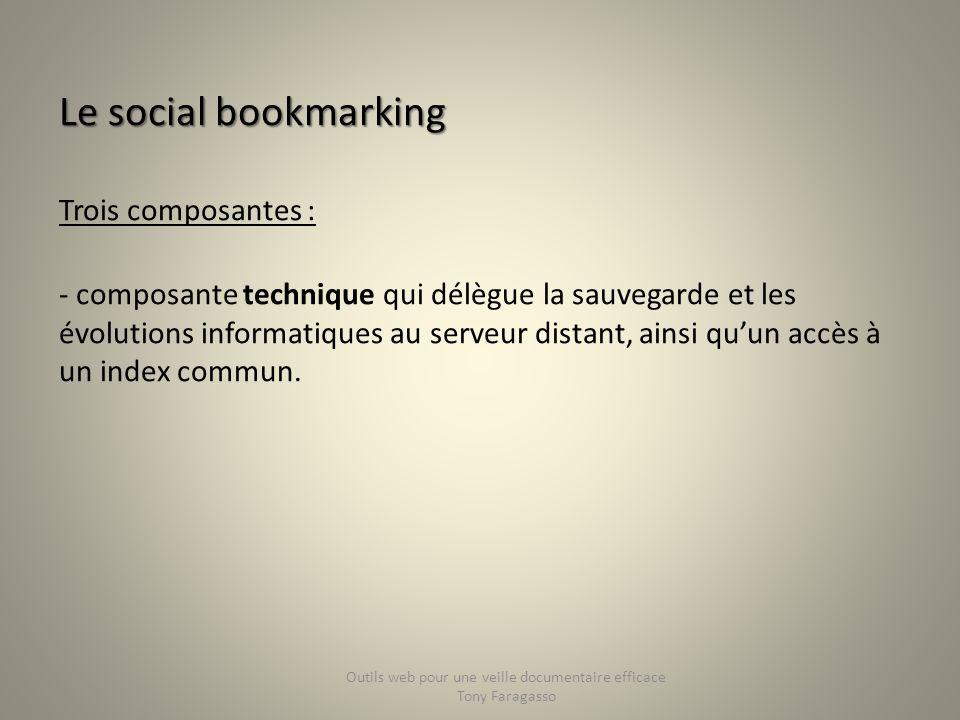 Le social bookmarking Trois composantes : - composante technique qui délègue la sauvegarde et les évolutions informatiques au serveur distant, ainsi q