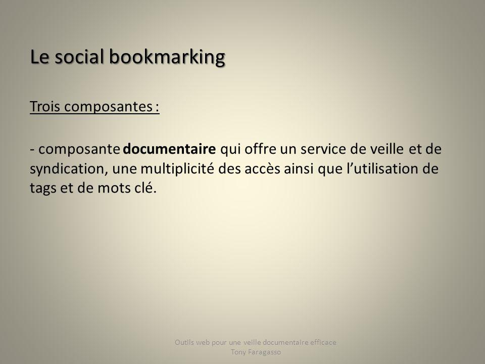 Le social bookmarking Trois composantes : - composante documentaire qui offre un service de veille et de syndication, une multiplicité des accès ainsi