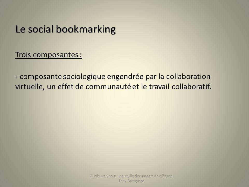 Le social bookmarking Trois composantes : - composante sociologique engendrée par la collaboration virtuelle, un effet de communauté et le travail col