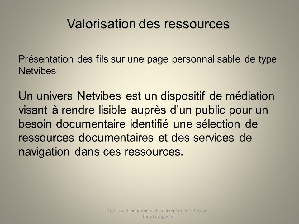 Valorisation des ressources Présentation des fils sur une page personnalisable de type Netvibes Un univers Netvibes est un dispositif de médiation vis